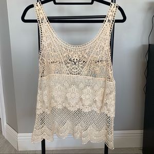 AE Crochet Open Knit Tank Top/Cover Up Size S